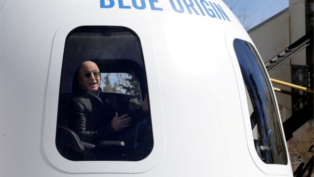 Bezos in a spaceship built by his company, Blue Origin, in 2017.