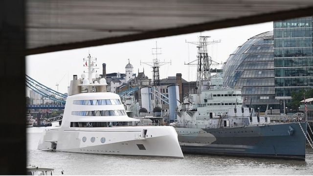 """""""Motor Yacht A"""", on the Thames, in London, in 2017."""