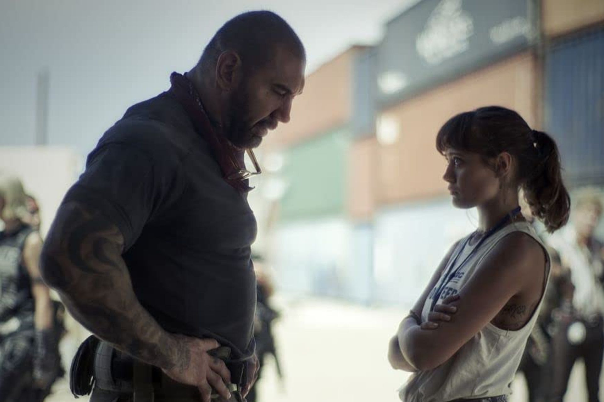 Dave Bautista and Ella Purnell, in a scene from Army of the Dead