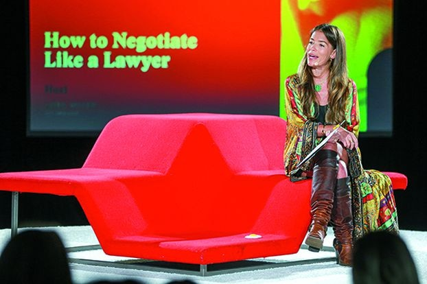 Lawyer Laura Wasser on stage at the Girlboss Rally 2018 in Los Angeles. This event highlights women who have a brilliant career.