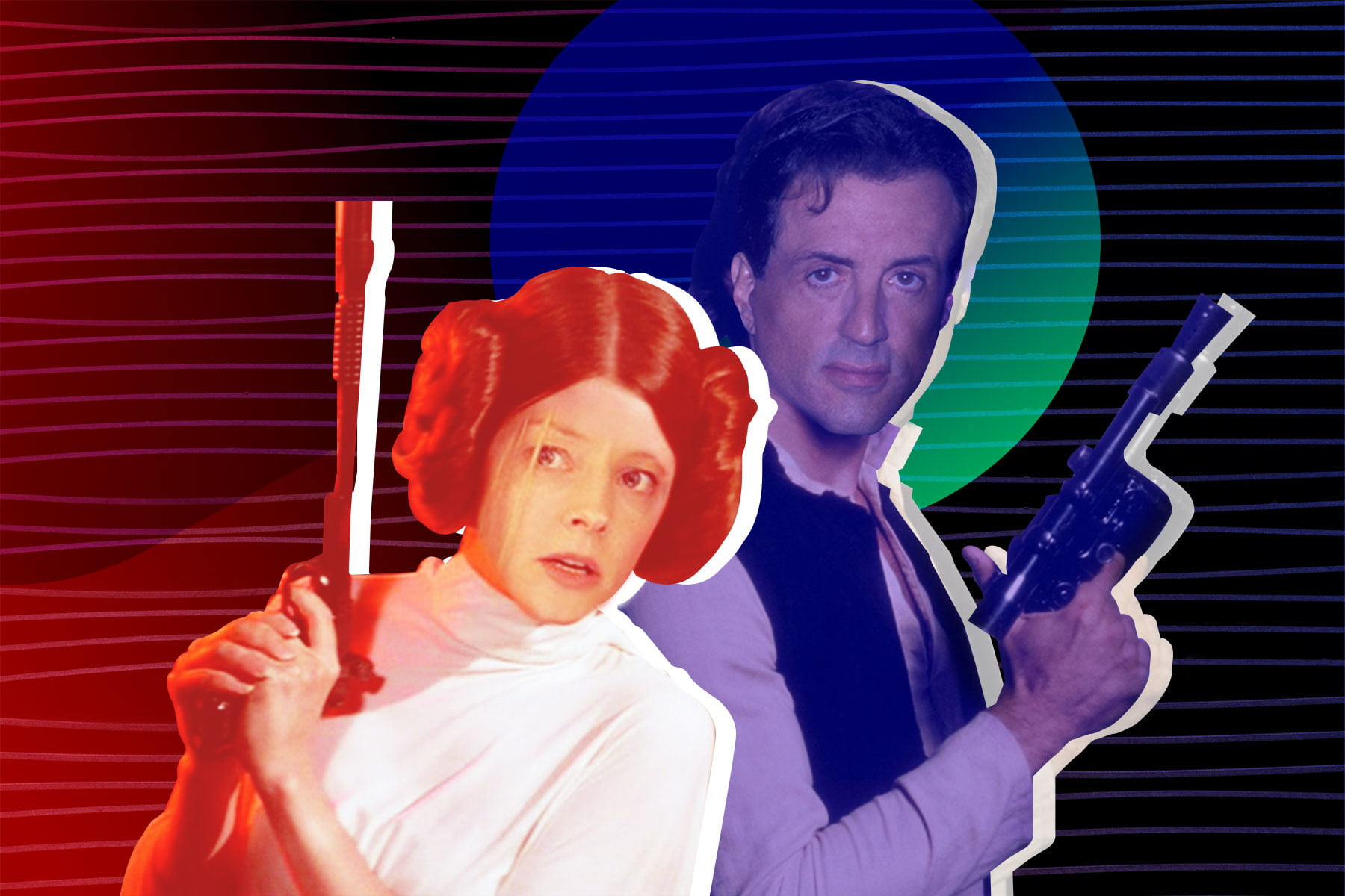 1621957289 Sylvester Stallone as Han Solo and Jodie Foster as Leia