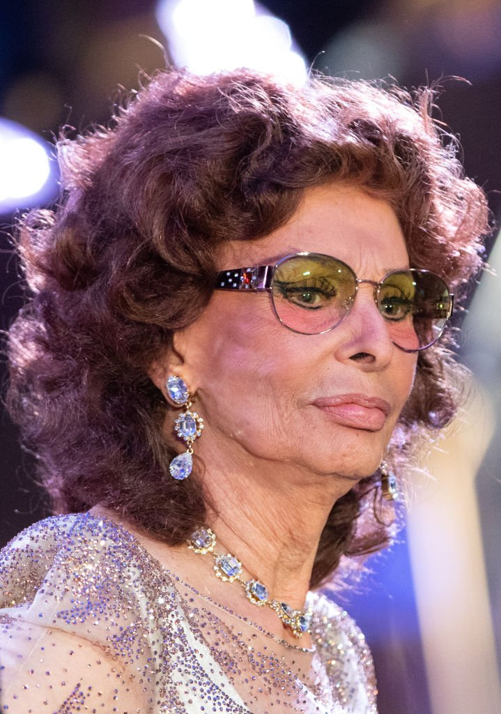 Sophia Loren, Italian actress, at the naming ceremony in the Plaza aboard the cruise ship MSC Grandiosa.   Photo: Getty Images