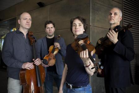 Quartet Casals outside the Auditori: Arnau Tomàs, Abel Tomàs, Vera Martínez Mehner and Jonathan Brown