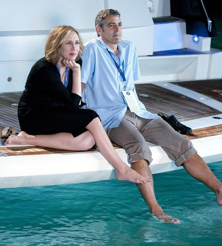 """With George Clooney. On """"Nonstop love"""", 2009. She was nominated for an Oscar for her performance."""