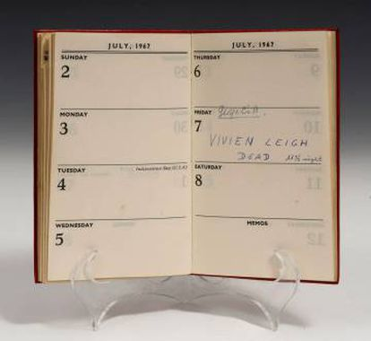 Vivien Leigh's Diary from 1976, the year she died, which has been sold for 7,916 euros.