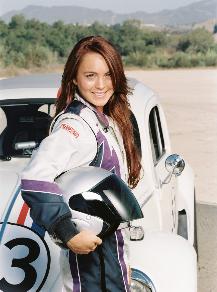 """With the """"beetle"""" on """"Herbie: Full throttle"""". Photo Clarín Archive"""