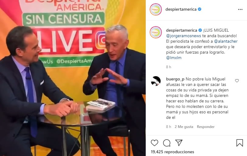 The unexpected confession of Jorge Ramos to Chiqui Delgado is a fan of Luis Miguel La Serie