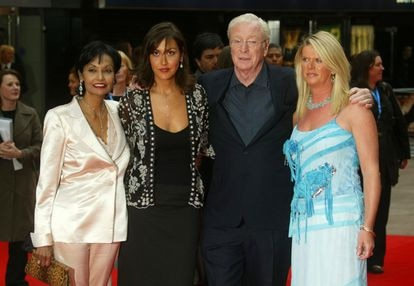 Michael Caine flanked by his wife Shakira and daughters Natasha (left) and Dominique, in a 2005 photo.