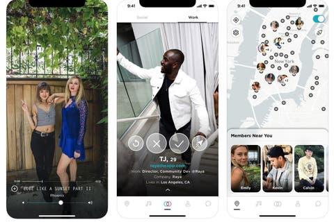 sample screenshots of the raya app