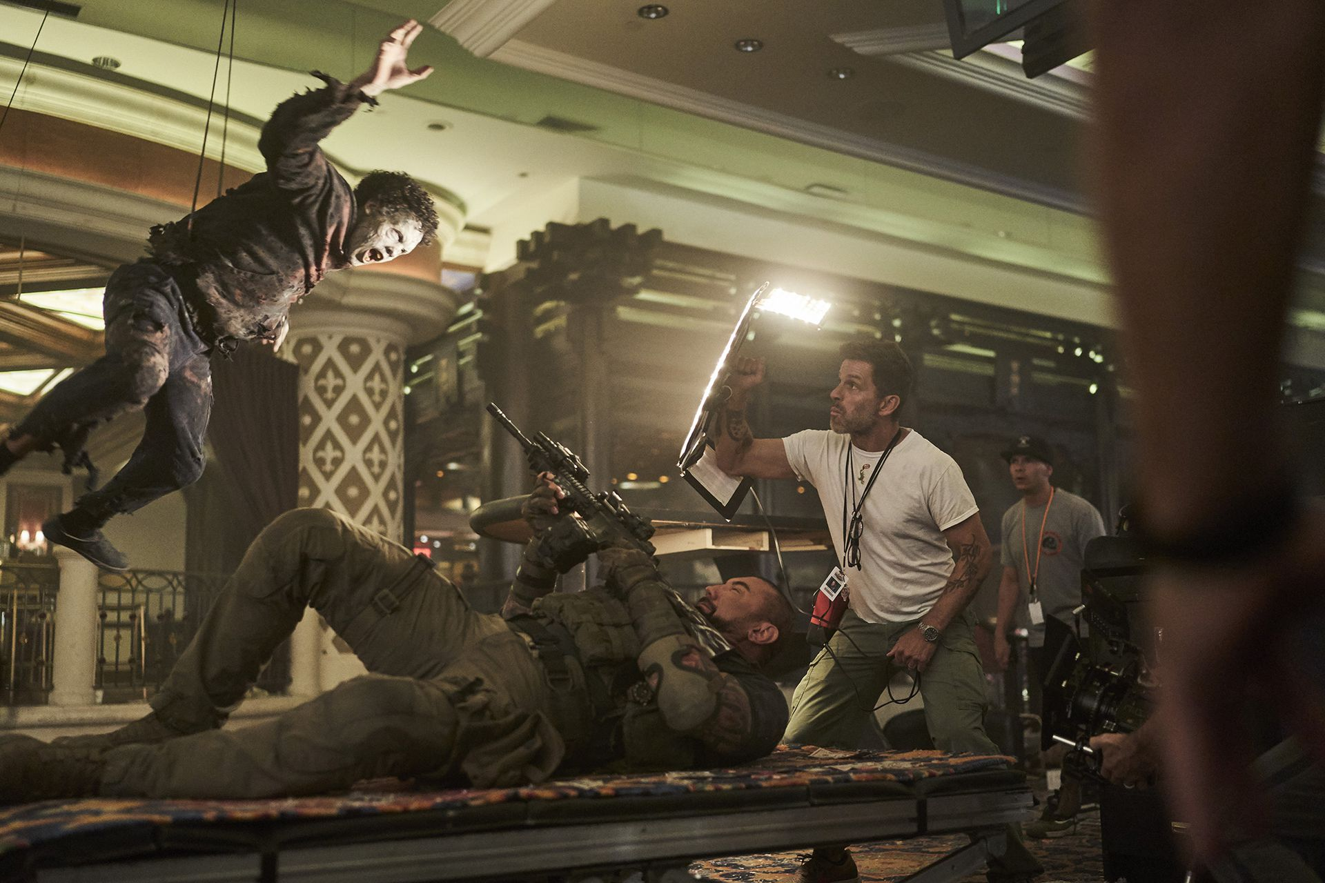 Dave Bautista, filming with Zack Snyder.