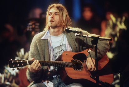 Kurt Cobain at an MTV Unplugged concert at Sony Studios in New York, 1993.