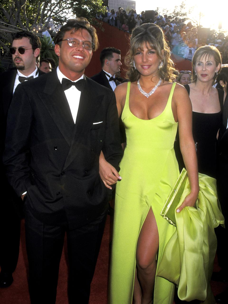LOS ANGELES - MARCH 25: Latin Singer Luis Miguel and Actress Daisy Fuentes attend the 68th Annual Academy Awards on March 25, 1996 at Dorothy Chandler Pavilion in Los Angeles, California. (Photo by Ron Galella, Ltd / Ron Galella Collection via Getty Images)