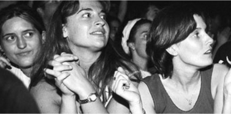 Young people attending the concert offered by the Rolling Stones at the Estadi Olímpic de Barcelona on July 20, 1998