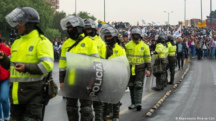 Police lined up in Bogotá.