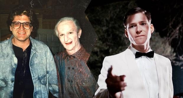 """(Left) Bob Gale and Jeffrey Weissman portrayed as Crispin Glover in the second part of """"Back to the Future"""". (Right) Glover in the first movie."""