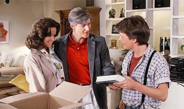 """George McFly (George McFly) at the end of """"Back to the future 1"""" from 1985."""