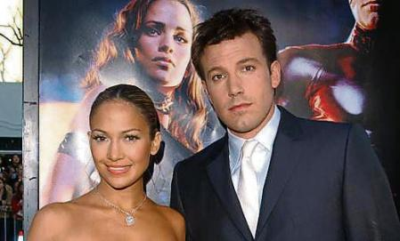 Actress and singer Jennifer Lopez and actor Ben Affleck at the
