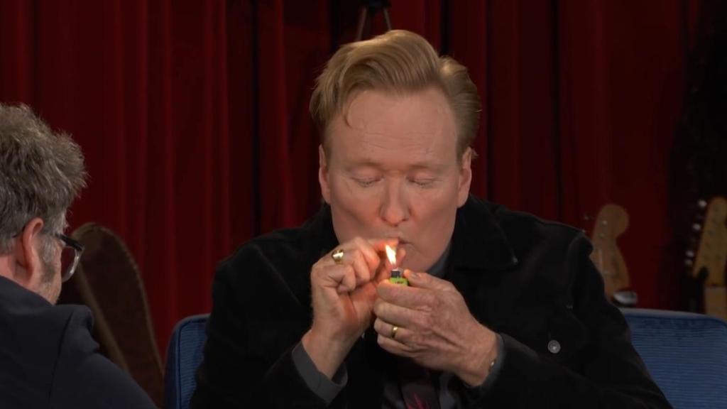 Conan O'Brien smokes marijuana on television