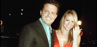 Luis Miguel and Mariah Carey posing in Marbella in a 2001 file image