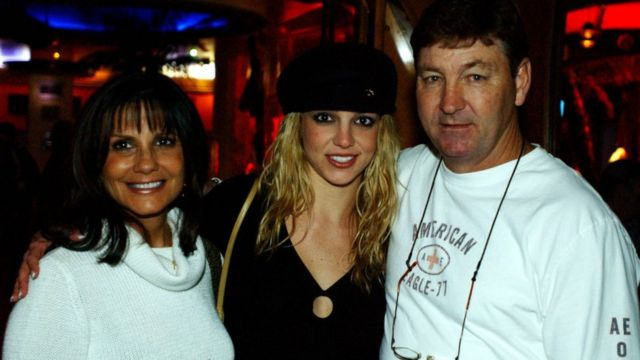 Britney Spears with her parents in Las Vegas, November 2001.