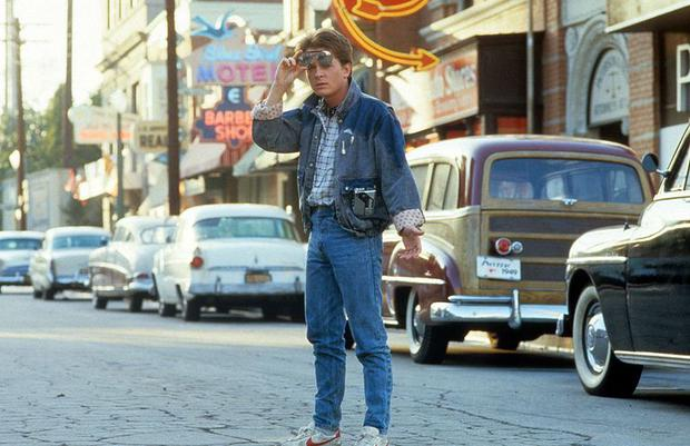 """Michael J. Fox, the officer Marty McFly, in a scene from """"Back to the Future"""". Photo: Universal Studios"""