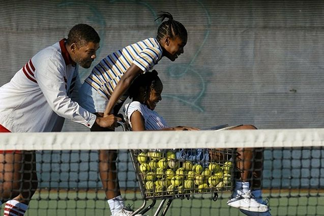 King Richard Will Smith coaches Serena and Venus Williams in