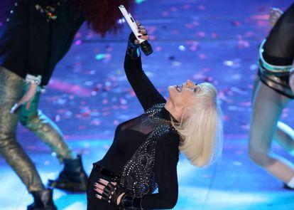 Raffaella Carrà at the 64th edition of the Italian Song Festival in 2014.