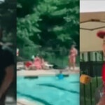 They run for listening to music in Spanish! Hispanics are taken out of the community pool and end up giving 'a white glove slap' (VIDEO)