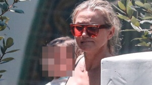 Cameron Diaz, 48, makes a rare appearance taking his daughter Raddix to a swimming class in Beverly Hills.