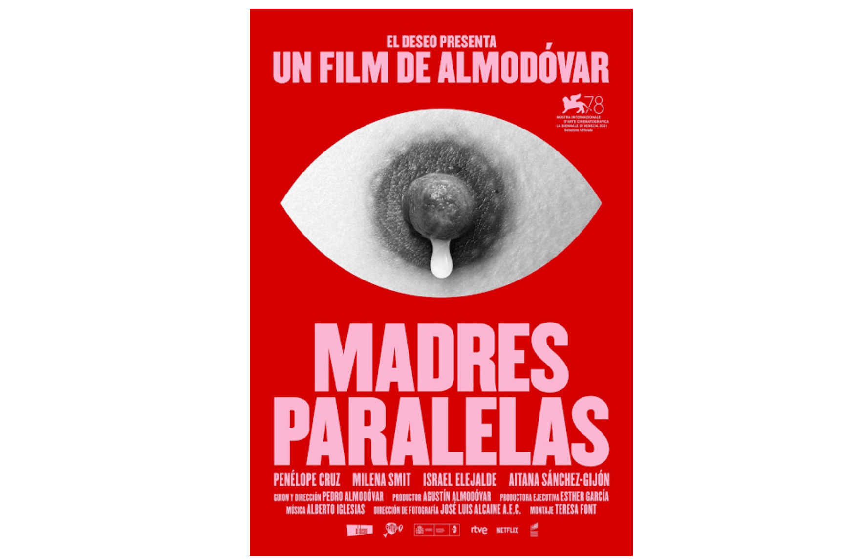 """Almodóvar and the nipple in the poster of the movie """"Parallel Mothers"""" win a battle against Instagram"""