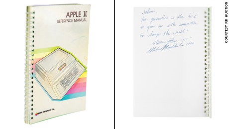 They sell an Apple II manual signed by Steve Jobs