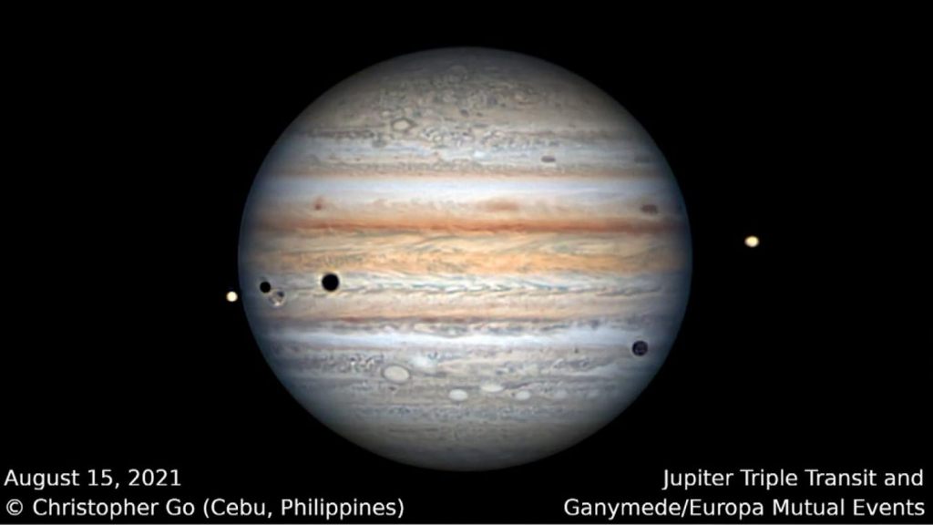 See how three simultaneous eclipses occur on Jupiter