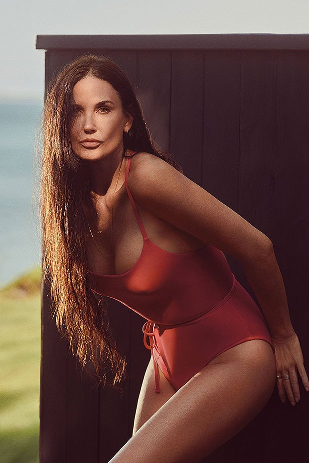 Demi Moore stuns in sexy one-piece swimsuit as she says it's a 'hot red summer'