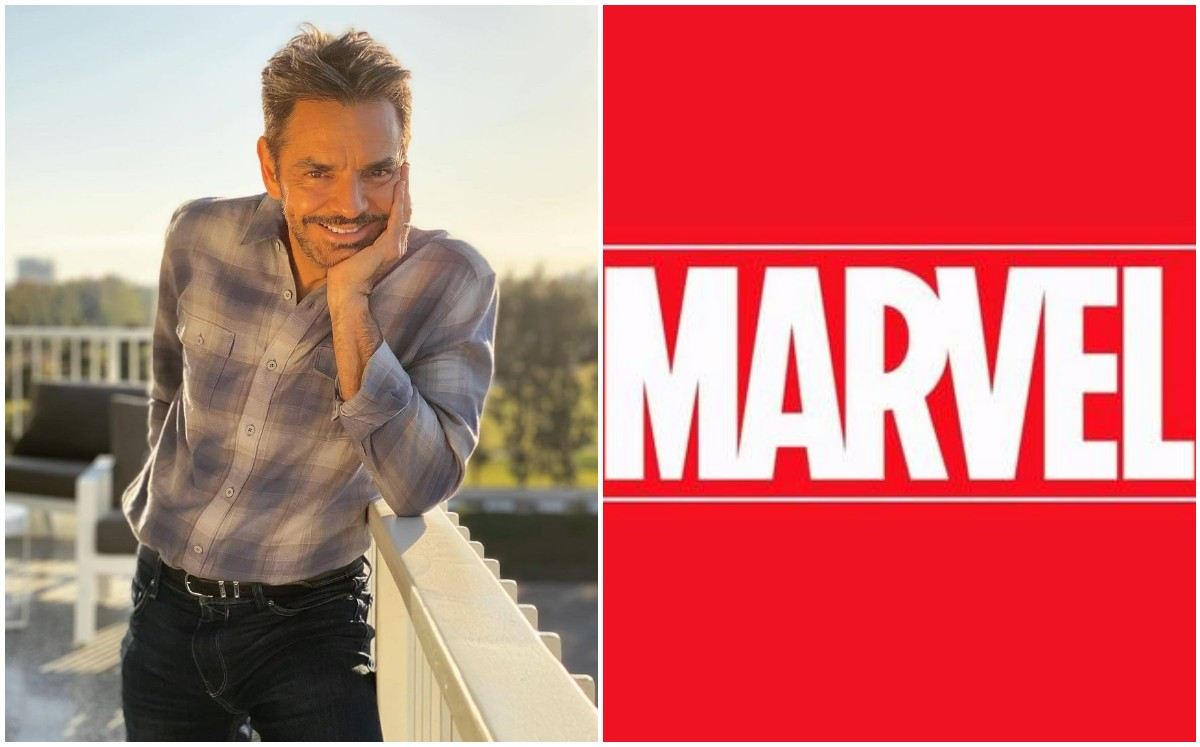 Eugenio Derbez points to a villain in the Marvel Cinematic