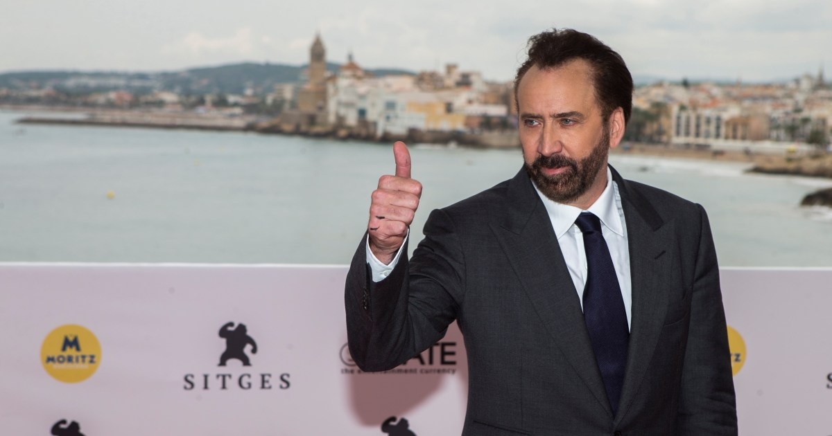 Nicolas Cage playing Nicolas Cage, the Lionsgate ace for CinemaCon
