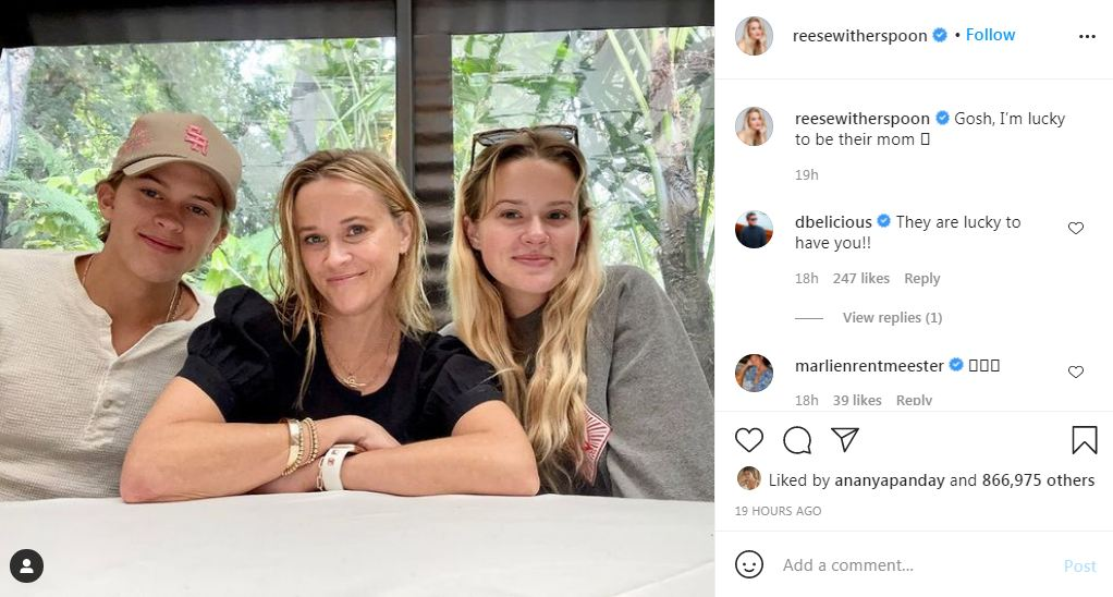 Reese Witherspoon shares the sweet photo with her kids who