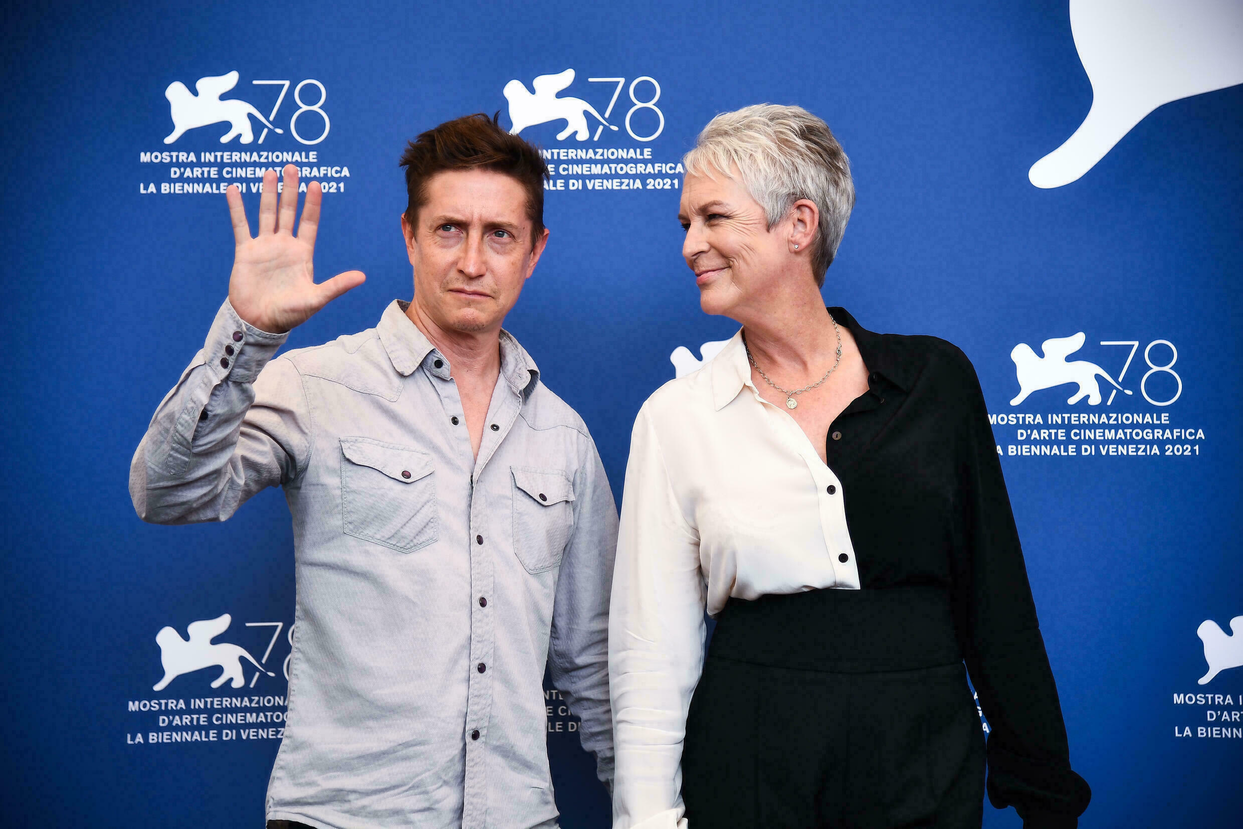US director Gordon Green and actress Jamie Lee Curtis at the Film Festival on September 8, 2021