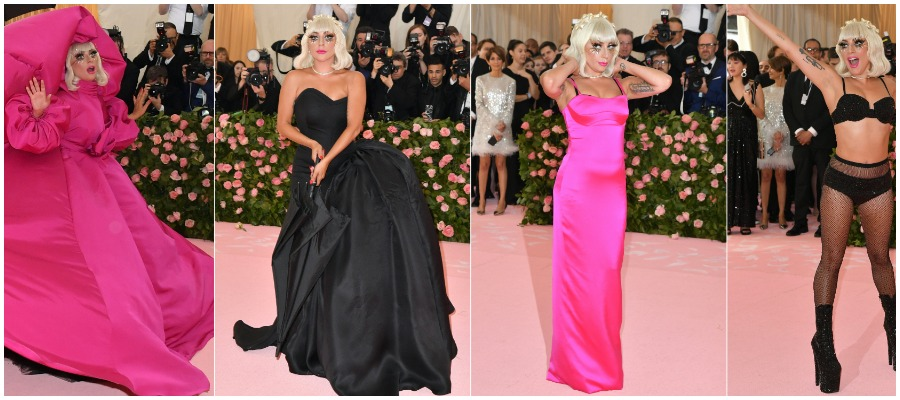 Lady Gaga flaunting her four looks at the 2019 Met Gala.