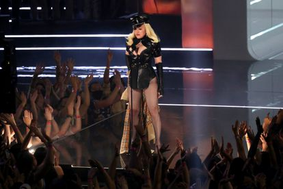 Madonna arrives on stage to perform at the awards ceremony.