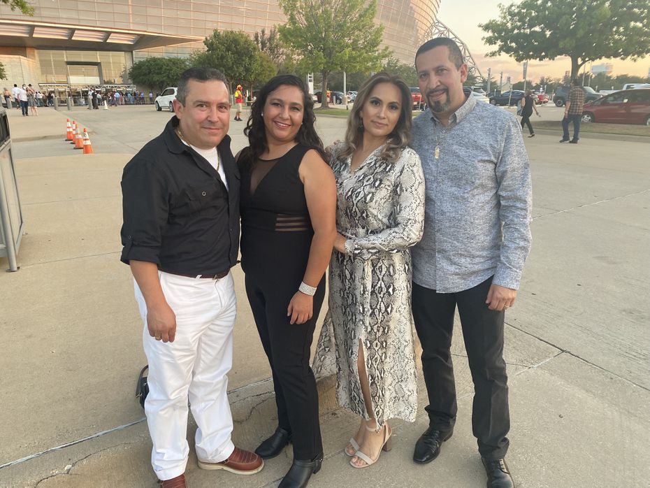 Juan Davila, Laura Davila, Cristina Lopez and Juan Martinez (left to right) outside AT&T Stadium before entering the Los Bukis concert.