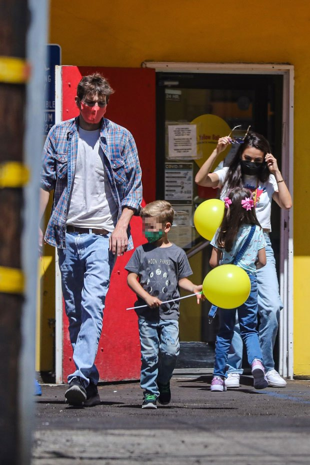 Ashton Kutcher and Mila Kunis take their children Wyatt 6