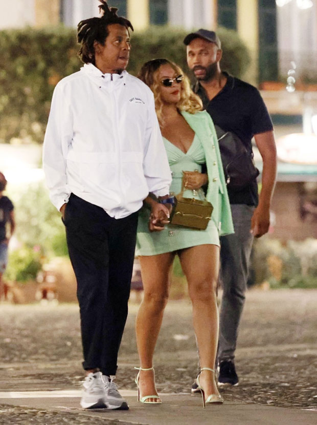 Beyoncé stuns in mint green dress as she holds Jay-Z's hand on date in Portofino - photos E! News UK