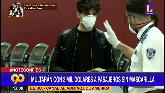 Coronavirus in the United States: They will fine up to 3,000 dollars to passengers without a mask