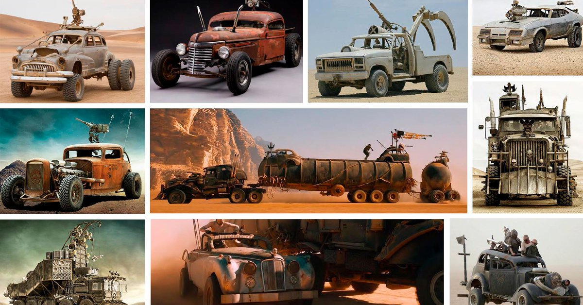 Monster cars from the movie Mad Max Fury Road to