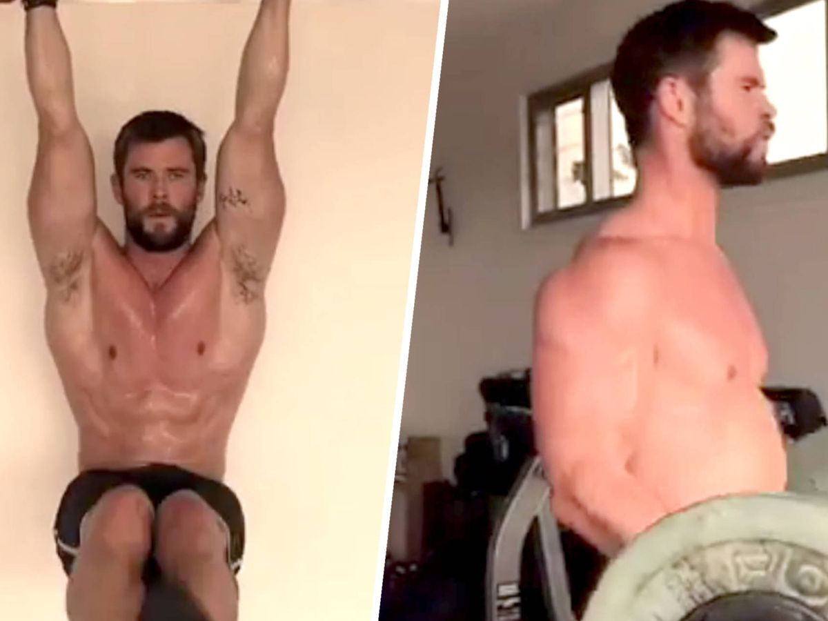 Photo: Chris Hemsworth in images of his exercise routine posted on Instagram