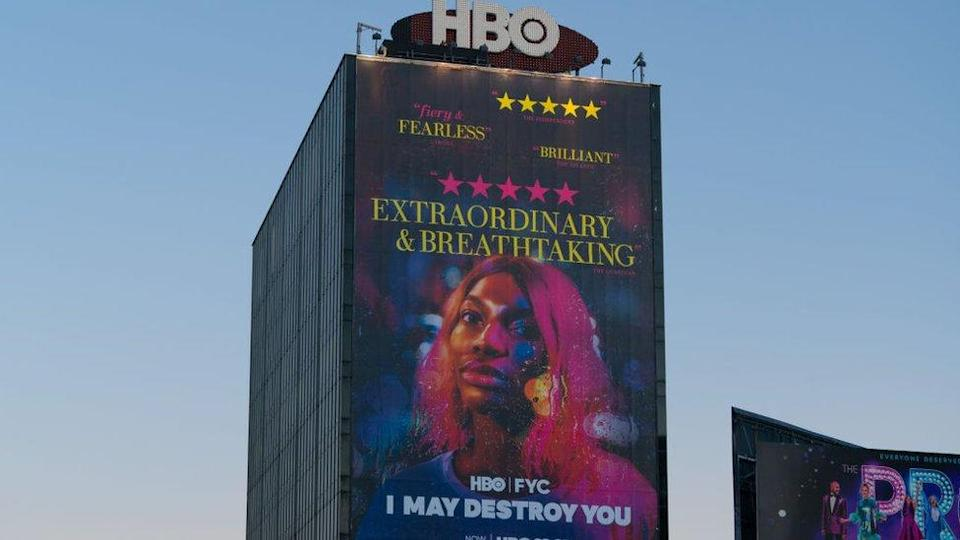 A large billboard announces the series I May Destroy You, December 21, 2020